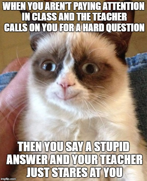 Grumpy Cat Happy Meme | WHEN YOU AREN'T PAYING ATTENTION IN CLASS AND THE TEACHER CALLS ON YOU FOR A HARD QUESTION THEN YOU SAY A STUPID ANSWER AND YOUR TEACHER JUS | image tagged in memes,grumpy cat happy,grumpy cat | made w/ Imgflip meme maker