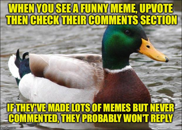 No comment? | WHEN YOU SEE A FUNNY MEME, UPVOTE THEN CHECK THEIR COMMENTS SECTION IF THEY'VE MADE LOTS OF MEMES BUT NEVER COMMENTED, THEY PROBABLY WON'T R | image tagged in good advice mallard | made w/ Imgflip meme maker