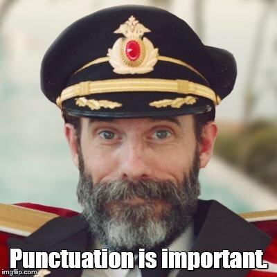 captain obvious | Punctuation is important. | image tagged in captain obvious | made w/ Imgflip meme maker