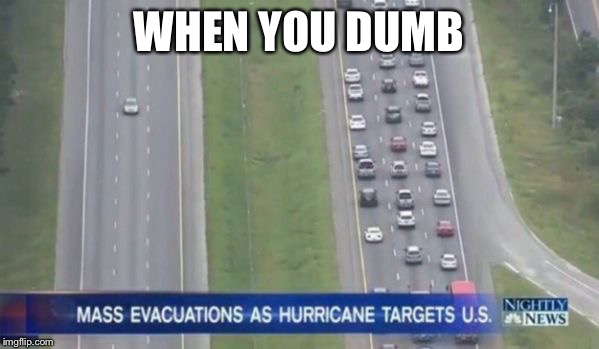 WHEN YOU DUMB | image tagged in hurricane traffic | made w/ Imgflip meme maker