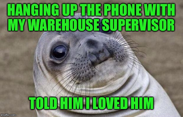 Awkward Moment Sealion Meme | HANGING UP THE PHONE WITH MY WAREHOUSE SUPERVISOR TOLD HIM I LOVED HIM | image tagged in memes,awkward moment sealion | made w/ Imgflip meme maker