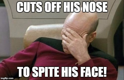 Captain Picard Facepalm Meme | CUTS OFF HIS NOSE TO SPITE HIS FACE! | image tagged in memes,captain picard facepalm | made w/ Imgflip meme maker