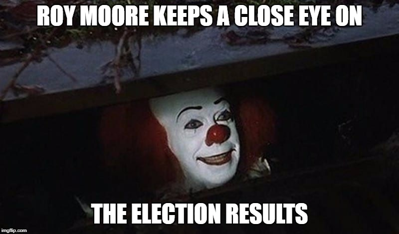 ROY MOORE KEEPS A CLOSE EYE ON THE ELECTION RESULTS | image tagged in roy moore | made w/ Imgflip meme maker
