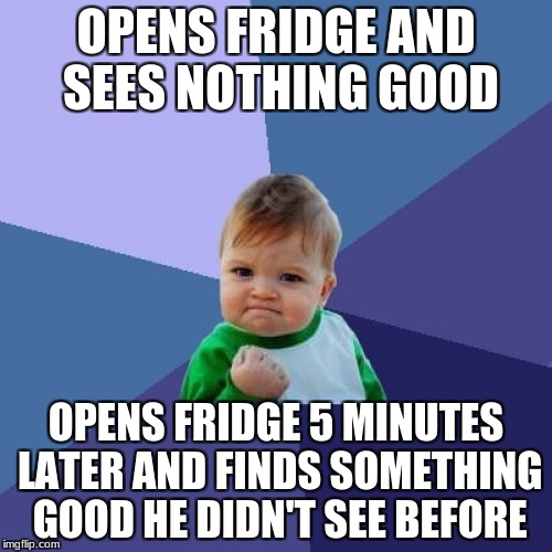 Success Kid Meme | OPENS FRIDGE AND SEES NOTHING GOOD OPENS FRIDGE 5 MINUTES LATER AND FINDS SOMETHING GOOD HE DIDN'T SEE BEFORE | image tagged in memes,success kid | made w/ Imgflip meme maker