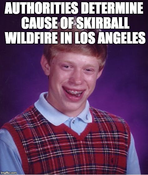 skirball wildfire source | AUTHORITIES DETERMINE CAUSE OF SKIRBALL WILDFIRE IN LOS ANGELES | image tagged in memes,bad luck brian,letsgetwordy,wildfire,skirball | made w/ Imgflip meme maker