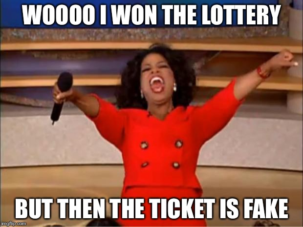 Fake lottery | WOOOO I WON THE LOTTERY BUT THEN THE TICKET IS FAKE | image tagged in memes,oprah you get a | made w/ Imgflip meme maker