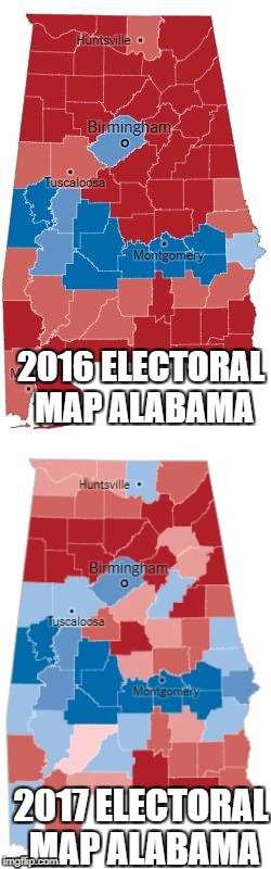 2017 Alabama Special Election | 2016 ELECTORAL MAP ALABAMA 2017 ELECTORAL MAP ALABAMA | image tagged in alabama,election,senate,doug,jones,roy | made w/ Imgflip meme maker