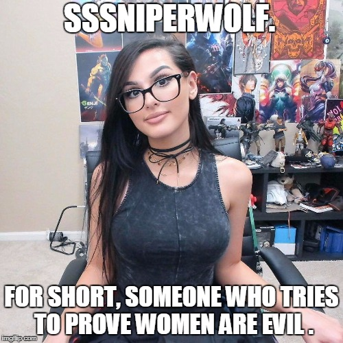 SSSNIPERWOLF. FOR SHORT, SOMEONE WHO TRIES TO PROVE WOMEN ARE EVIL . | image tagged in sssniperwolf in her gaming room | made w/ Imgflip meme maker