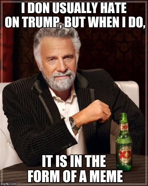 The Most Interesting Man In The World Meme | I DON USUALLY HATE ON TRUMP, BUT WHEN I DO, IT IS IN THE FORM OF A MEME | image tagged in memes,the most interesting man in the world | made w/ Imgflip meme maker