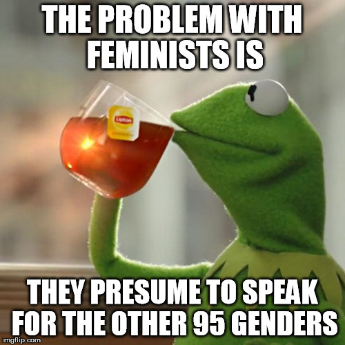 But Thats None Of My Business Meme | THE PROBLEM WITH FEMINISTS IS THEY PRESUME TO SPEAK FOR THE OTHER 95 GENDERS | image tagged in memes,but thats none of my business,kermit the frog | made w/ Imgflip meme maker