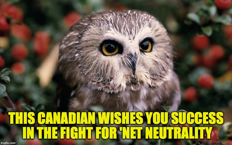 THIS CANADIAN WISHES YOU SUCCESS IN THE FIGHT FOR 'NET NEUTRALITY | made w/ Imgflip meme maker