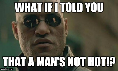 Matrix Morpheus Meme | WHAT IF I TOLD YOU THAT A MAN'S NOT HOT!? | image tagged in memes,matrix morpheus | made w/ Imgflip meme maker