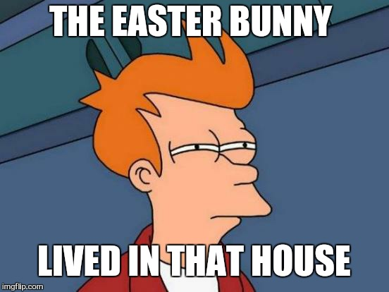Futurama Fry Meme | THE EASTER BUNNY LIVED IN THAT HOUSE | image tagged in memes,futurama fry | made w/ Imgflip meme maker