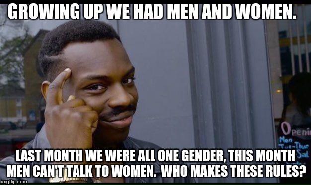 Roll Safe Think About It Meme | GROWING UP WE HAD MEN AND WOMEN. LAST MONTH WE WERE ALL ONE GENDER, THIS MONTH MEN CAN'T TALK TO WOMEN.  WHO MAKES THESE RULES? | image tagged in thinking black guy | made w/ Imgflip meme maker