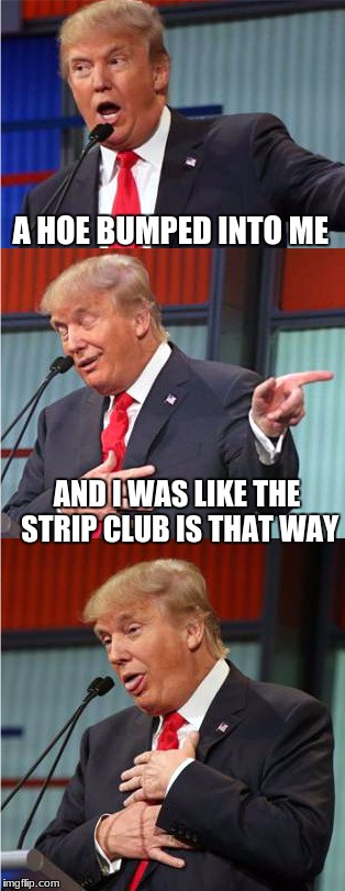Bad Pun Trump | A HOE BUMPED INTO ME AND I WAS LIKE THE STRIP CLUB IS THAT WAY | image tagged in bad pun trump | made w/ Imgflip meme maker