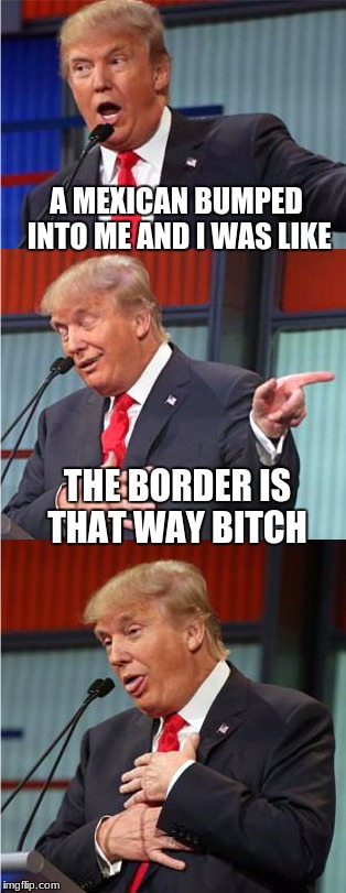 Bad Pun Trump | A MEXICAN BUMPED INTO ME AND I WAS LIKE THE BORDER IS THAT WAY B**CH | image tagged in bad pun trump | made w/ Imgflip meme maker