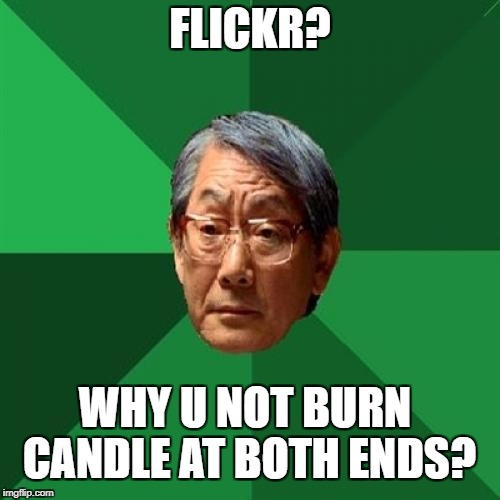 FLICKR? WHY U NOT BURN CANDLE AT BOTH ENDS? | image tagged in high expectations asian father | made w/ Imgflip meme maker