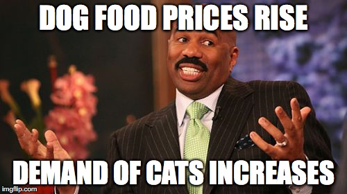 Steve Harvey Meme | DOG FOOD PRICES RISE DEMAND OF CATS INCREASES | image tagged in memes,steve harvey | made w/ Imgflip meme maker