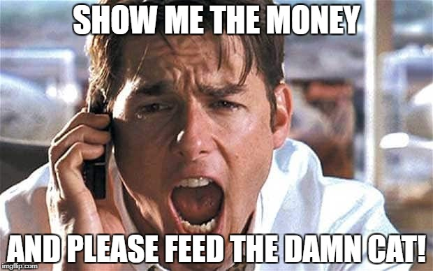 SHOW ME THE MONEY AND PLEASE FEED THE DAMN CAT! | made w/ Imgflip meme maker