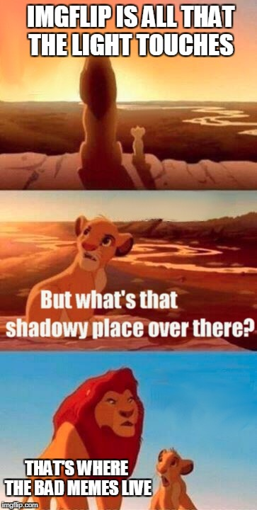 Simba Shadowy Place Meme | IMGFLIP IS ALL THAT THE LIGHT TOUCHES THAT'S WHERE THE BAD MEMES LIVE | image tagged in memes,simba shadowy place | made w/ Imgflip meme maker
