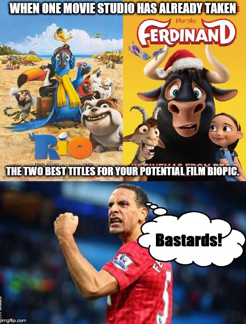 Rio and Ferdinand are already taken | WHEN ONE MOVIE STUDIO HAS ALREADY TAKEN THE TWO BEST TITLES FOR YOUR POTENTIAL FILM BIOPIC. | image tagged in rio,ferdinand,rio ferdinand,film,biopic,blue sky studios | made w/ Imgflip meme maker