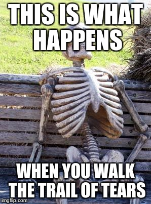 Waiting Skeleton Meme | THIS IS WHAT HAPPENS WHEN YOU WALK THE TRAIL OF TEARS | image tagged in memes,waiting skeleton | made w/ Imgflip meme maker