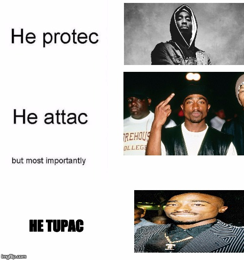 He protec he attac but most importantly | HE TUPAC | image tagged in he protec he attac but most importantly | made w/ Imgflip meme maker
