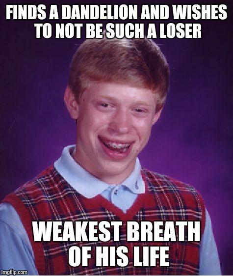 Bad Luck Brian Meme | FINDS A DANDELION AND WISHES TO NOT BE SUCH A LOSER WEAKEST BREATH OF HIS LIFE | image tagged in memes,bad luck brian | made w/ Imgflip meme maker