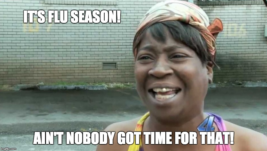 IT'S FLU SEASON! AIN'T NOBODY GOT TIME FOR THAT! | image tagged in ain't nobody got time for that | made w/ Imgflip meme maker