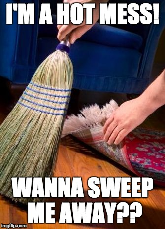 I'M A HOT MESS! WANNA SWEEP ME AWAY?? | image tagged in sweep under carpet | made w/ Imgflip meme maker