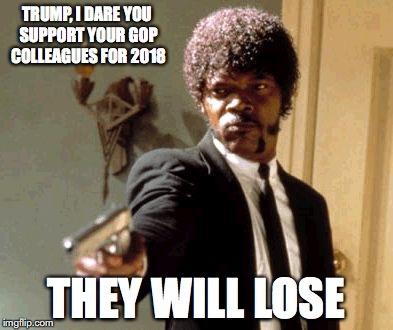 Supporting Losers | TRUMP, I DARE YOU SUPPORT YOUR GOP COLLEAGUES FOR 2018 THEY WILL LOSE | image tagged in memes,say that again i dare you,losers | made w/ Imgflip meme maker