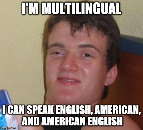 10 Guy Meme | I'M MULTILINGUAL I CAN SPEAK ENGLISH, AMERICAN, AND AMERICAN ENGLISH | image tagged in memes,10 guy | made w/ Imgflip meme maker