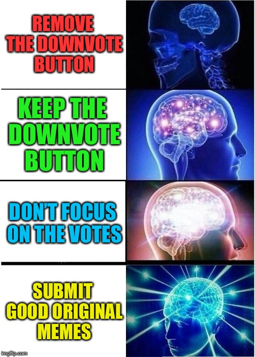 Expanding Brain Meme | REMOVE THE DOWNVOTE BUTTON KEEP THE DOWNVOTE BUTTON DON'T FOCUS ON THE VOTES SUBMIT GOOD ORIGINAL MEMES | image tagged in memes,expanding brain | made w/ Imgflip meme maker