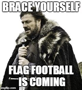 ned stark | BRACE YOURSELF FLAG FOOTBALL IS COMING | image tagged in ned stark | made w/ Imgflip meme maker