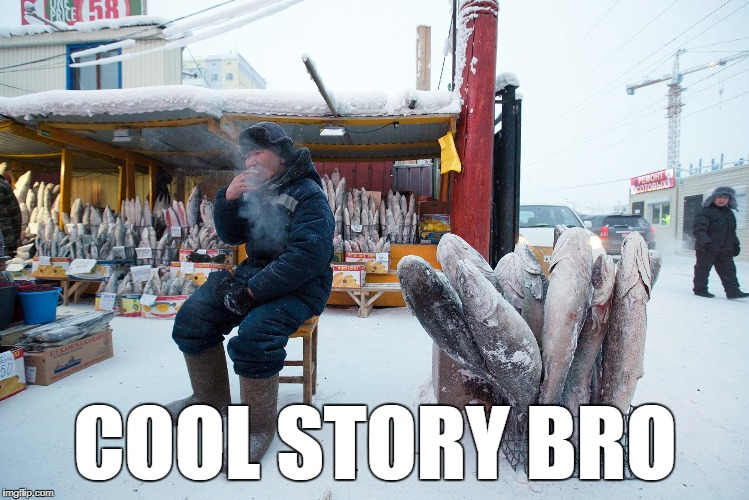 No, please, tell me more | COOL STORY BRO | image tagged in thats cold,too cool,funny,memes,fish,cold | made w/ Imgflip meme maker