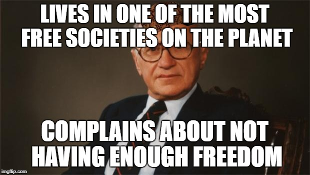 Scumbag American Libertarian | LIVES IN ONE OF THE MOST FREE SOCIETIES ON THE PLANET COMPLAINS ABOUT NOT HAVING ENOUGH FREEDOM | image tagged in scumbag,politics,milton friedman libertarian party | made w/ Imgflip meme maker
