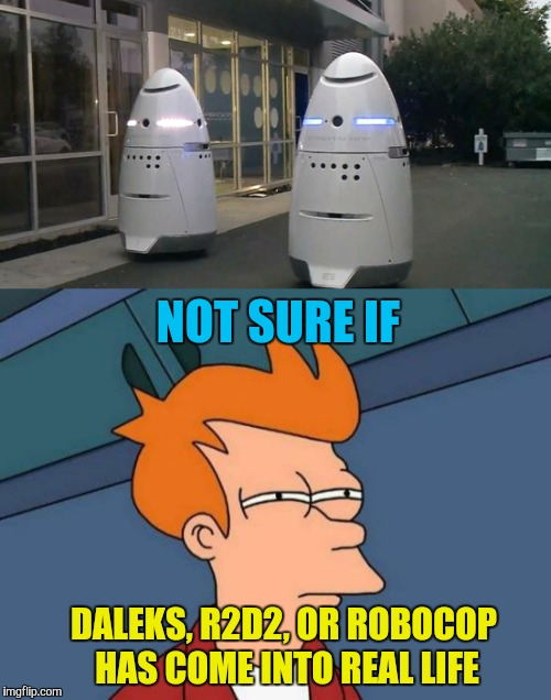 San Francisco robot security  | NOT SURE IF DALEKS, R2D2, OR ROBOCOP HAS COME INTO REAL LIFE | image tagged in memes,robocop,dalek,r2d2,star wars,san francisco | made w/ Imgflip meme maker