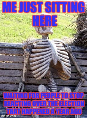 It'll Never End | ME JUST SITTING HERE WAITING FOR PEOPLE TO STOP REACTING OVER THE ELECTION THAT HAPPENED A YEAR AGO | image tagged in memes,waiting skeleton | made w/ Imgflip meme maker