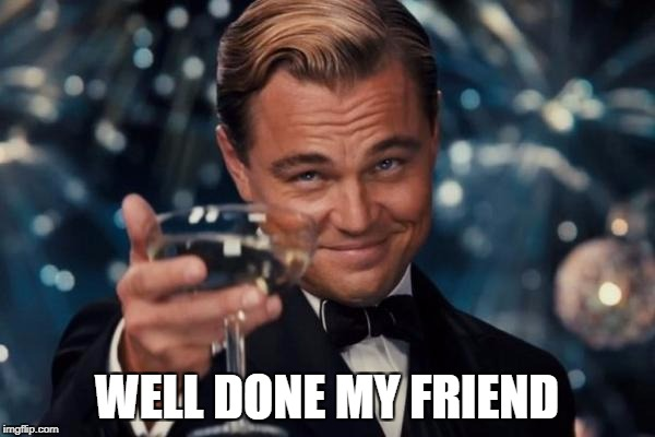 Leonardo Dicaprio Cheers Meme | WELL DONE MY FRIEND | image tagged in memes,leonardo dicaprio cheers | made w/ Imgflip meme maker