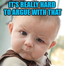 Skeptical Baby Meme | IT'S REALLY HARD TO ARGUE WITH THAT | image tagged in memes,skeptical baby | made w/ Imgflip meme maker
