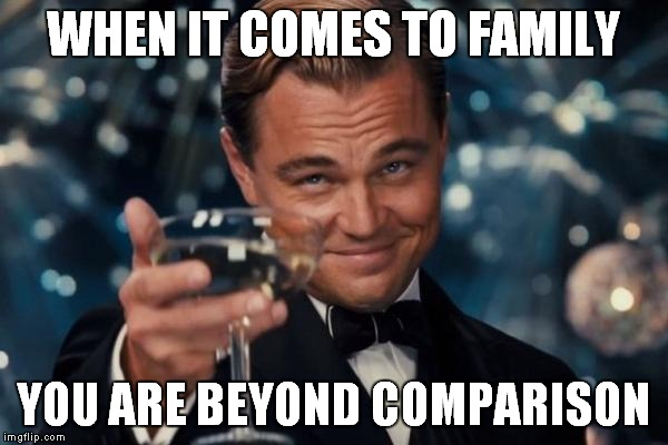 Leonardo Dicaprio Cheers Meme | WHEN IT COMES TO FAMILY YOU ARE BEYOND COMPARISON | image tagged in memes,leonardo dicaprio cheers | made w/ Imgflip meme maker