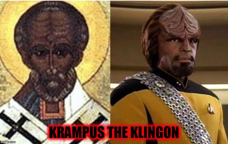 Worf's job before the Enterprise...Santa's strongman |  KRAMPUS THE KLINGON | image tagged in lieutenant worf,krampus,christmas,klingon | made w/ Imgflip meme maker