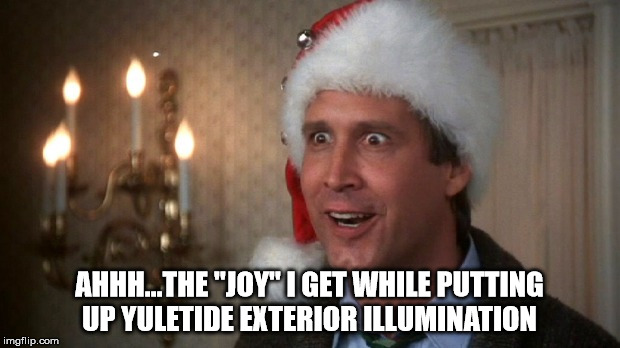 "Christmas vacation  | AHHH...THE ""JOY"" I GET WHILE PUTTING UP YULETIDE EXTERIOR ILLUMINATION 