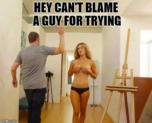 cant blame a guy | HEY CAN'T BLAME A GUY FOR TRYING | image tagged in boobies | made w/ Imgflip meme maker