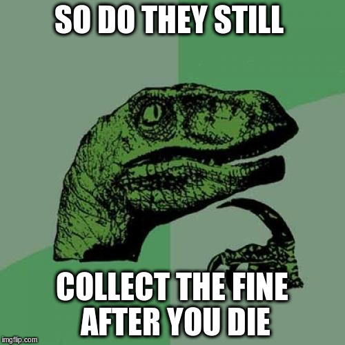 Philosoraptor Meme | SO DO THEY STILL COLLECT THE FINE AFTER YOU DIE | image tagged in memes,philosoraptor | made w/ Imgflip meme maker