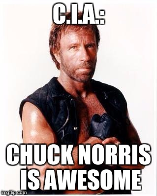 Breaking News: The C.I.A Changes Their Name to Honor The Legendary Chuck Norris | C.I.A.: CHUCK NORRIS IS AWESOME | image tagged in memes,chuck norris flex,chuck norris,awesome | made w/ Imgflip meme maker