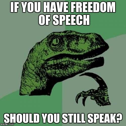 Philosoraptor Meme |  IF YOU HAVE FREEDOM OF SPEECH; SHOULD YOU STILL SPEAK? | image tagged in memes,philosoraptor | made w/ Imgflip meme maker
