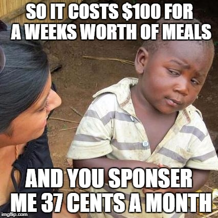 Third World Skeptical Kid Meme | SO IT COSTS $100 FOR A WEEKS WORTH OF MEALS AND YOU SPONSER ME 37 CENTS A MONTH | image tagged in memes,third world skeptical kid | made w/ Imgflip meme maker