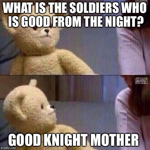 What? Teddy Bear | WHAT IS THE SOLDIERS WHO IS GOOD FROM THE NIGHT? GOOD KNIGHT MOTHER | image tagged in what teddy bear | made w/ Imgflip meme maker