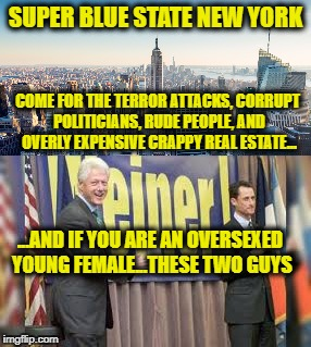 SUPER BLUE STATE NEW YORK COME FOR THE TERROR ATTACKS, CORRUPT POLITICIANS, RUDE PEOPLE, AND OVERLY EXPENSIVE CRAPPY REAL ESTATE... ...AND I | made w/ Imgflip meme maker